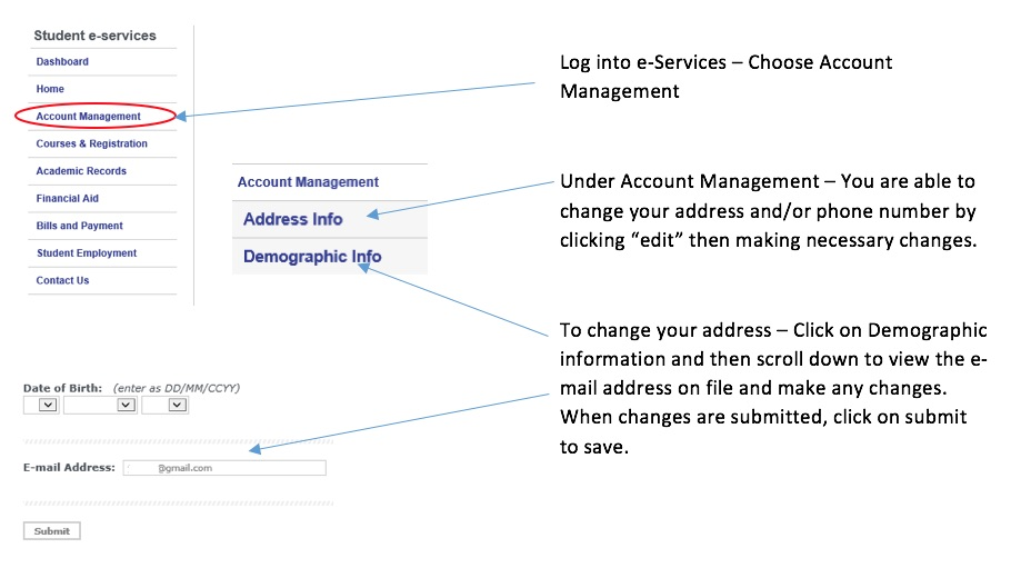 How to change your personal information in e-Services