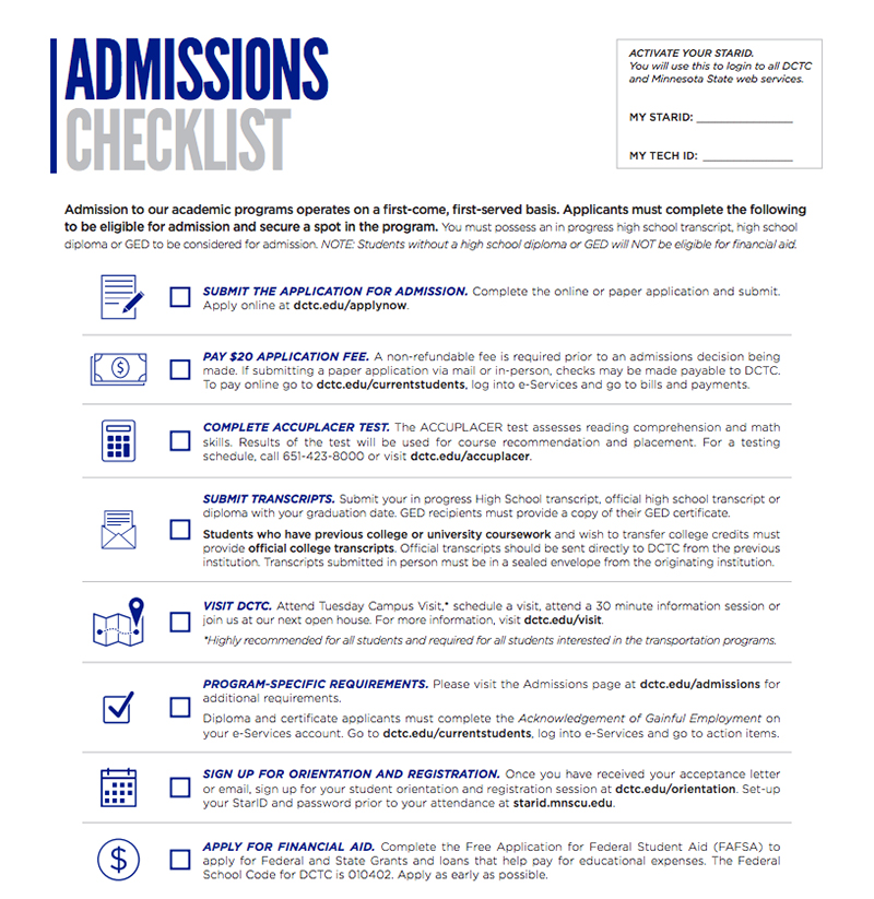 admissions checklist dakota county technical college dctc a 2